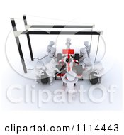 Clipart 3d Race Car Pit Crew White Characters Royalty Free CGI Illustration
