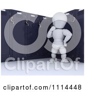 Clipart 3d White Character Thinking By His School Locker Royalty Free CGI Illustration