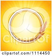 Clipart Round Wheat Frame With Copyspace Over Orange Rays Royalty Free Vector Illustration