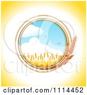 Clipart Round Wheat Frame With A Crop And Birds Against The Sky Royalty Free Vector Illustration