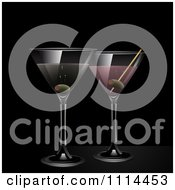 Clipart 3d Martini And Pink Gin Cocktail Drinks Over Black Royalty Free Vector Illustration by elaineitalia