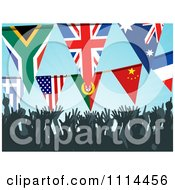 Clipart Silhouetted Crowd Cheering Under Bunting Flags Royalty Free Vector Illustration by elaineitalia