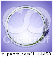 Round Lavender Frame With Rays On Purple