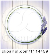 Round Lavender Frame On White Wood Boards
