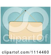 Clipart 3d Blank Sign Hanging Against A Blue Wall Royalty Free Vector Illustration