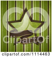 Grungy Brown Ribbon Banner With A Green Star Over Stripes