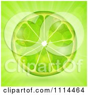 Clipart Fresh Green Lime Slice Over Flares And Rays Royalty Free Vector Illustration by elaineitalia