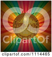 Clipart 3d Golden Disco Ball Over Grungy Colorful Rays Royalty Free Vector Illustration