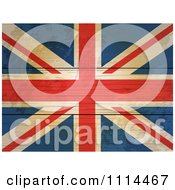 Clipart 3d Distressed Union Jack Flag On Wood Boards Royalty Free Vector Illustration