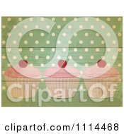 Clipart Retro Cupcakes Over Green Polka Dots On Wood Royalty Free Vector Illustration