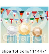 Clipart National Flag Buntings Over Medals Royalty Free Vector Illustration