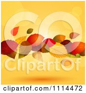 Clipart Floating Autumn Leaves With Flares Of Light Over Orange Royalty Free Vector Illustration by elaineitalia