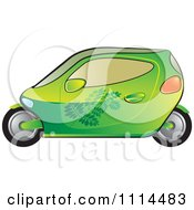Clipart Green Mobike Car With Leaf Decals Royalty Free Vector Illustration
