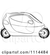 Clipart Black And White Mobike Car 1 Royalty Free Vector Illustration