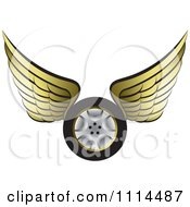 Clipart Gold Winged Tire 1 Royalty Free Vector Illustration