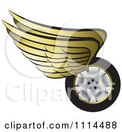 Clipart Gold Winged Tire 2 Royalty Free Vector Illustration