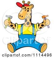 Clipart Handyman Giraffe Sitting With Tools Royalty Free Vector Illustration