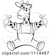 Clipart Outlined Handyman Giraffe Sitting With Tools Royalty Free Vector Illustration