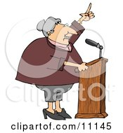 Proud Female Politician Gesturing With Her Hand While Giving A Public Speech by djart