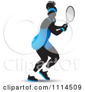 Clipart Silhouetted Female Tennis Player In A Blue Outfit Royalty Free Vector Illustration by Lal Perera