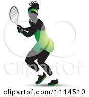 Clipart Silhouetted Female Tennis Player In A Green Outfit Royalty Free Vector Illustration