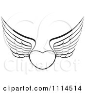 Clipart Outlined Winged Heart Royalty Free Vector Illustration