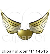 Clipart Golden Winged Heart Royalty Free Vector Illustration