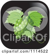 Clipart Green Grapes And Leaves Icon Button Royalty Free Vector Illustration