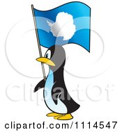 Clipart Penguin In Profile With An Antarctica Flag Royalty Free Vector Illustration