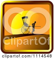 Clipart Silhouetted Man Pulling A Human Rickshaw At Sunset Icon Royalty Free Vector Illustration by Lal Perera