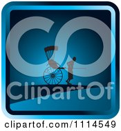 Clipart Silhouetted Man Pulling A Human Rickshaw Blue Icon Royalty Free Vector Illustration by Lal Perera