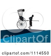 Clipart Silhouetted Man Pulling A Human Rickshaw Royalty Free Vector Illustration by Lal Perera