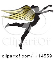 Clipart Silhouetted Woman With Golden Wings 2 Royalty Free Vector Illustration by Lal Perera
