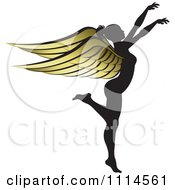 Silhouetted Woman With Golden Wings 1