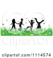 Clipart Carefree Silhouetted Children Playing In Grass And Butterflies Royalty Free Vector Illustration