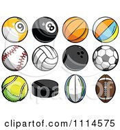 Clipart Athletic Sports Balls Royalty Free Vector Illustration