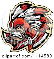 Clipart Competitive Chief Football Player Mascot Royalty Free Vector Illustration by Chromaco