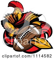 Clipart Spartan Warrior Mascot Stabbing A Football With His Golden Sword Royalty Free Vector Illustration by Chromaco