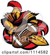 Spartan Warrior Mascot Stabbing A Football With His Golden Sword