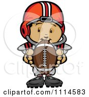 Clipart Cute Football Player Boy Holding A Ball Royalty Free Vector Illustration