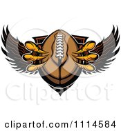 Clipart Eagle Talons Grabbing A Football And A Winged Shield Royalty Free Vector Illustration