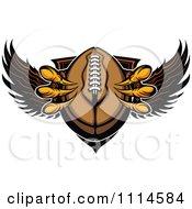 Clipart Eagle Talons Grabbing A Football And A Winged Shield Royalty Free Vector Illustration