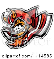 Clipart Aggressive Devil Football Player Mascot Royalty Free Vector Illustration by Chromaco