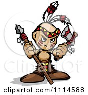 Tough Native American Brave Boy With A Spear And Axe