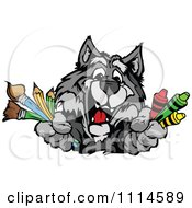 Clipart Happy Gray Wolf Mascot Holding Art Supplies Royalty Free Vector Illustration