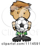 Clipart Cute Boy Holding A Soccer Ball Royalty Free Vector Illustration by Chromaco