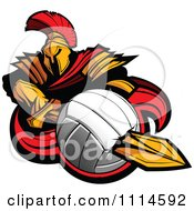 Clipart Spartan Warrior Mascot Stabbing A Volleyball With His Golden Sword Royalty Free Vector Illustration