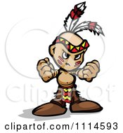 Clipart Tough Native American Brave Boy Holding Out His Fists Royalty Free Vector Illustration