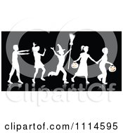 Clipart White Silhouetted Halloween Children Trick Or Treating With A Reflection On Black Royalty Free Vector Illustration by KJ Pargeter