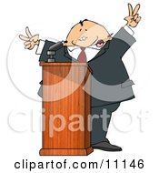 Silly Man At A Podium Giving A Passionate Public Speech And Gesturing Peace Symbols Clipart Picture